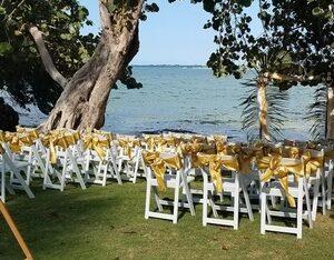 wedding on the lawn at Llantrissant