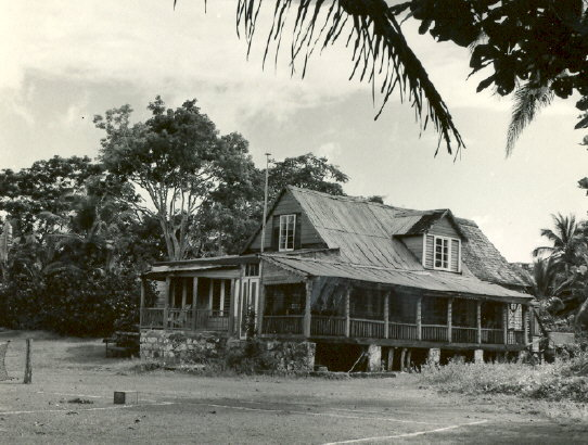 A view of Arthur Drew's house in Jamaica October 1954