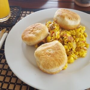 Ackee and Saltfish with Johnny cakes